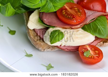 Ciabatta With Ham , Mozzarella, Tomato And Basil