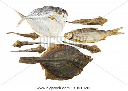 Dried fish isolated on a white background poster