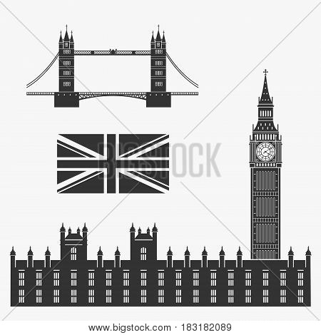 Set of Symbols of Great Britain Vector Illustration