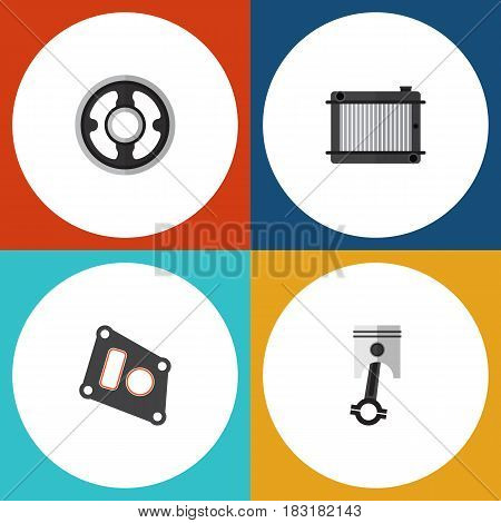 Flat Parts Set Of Gasket, Conrod, Belt And Other Vector Objects. Also Includes Radiator, Pulley, Heater Elements.