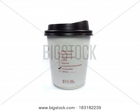 Takeaway coffee cup,white paper cups with closed black caps,isolated background,Selected the