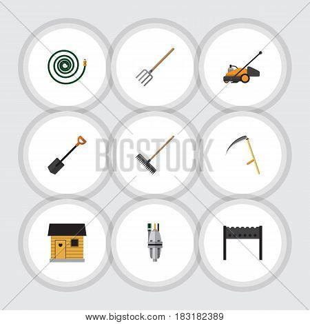 Flat Dacha Set Of Pump, Barbecue, Lawn Mower And Other Vector Objects. Also Includes Hosepipe, Cutter, Barn Elements.