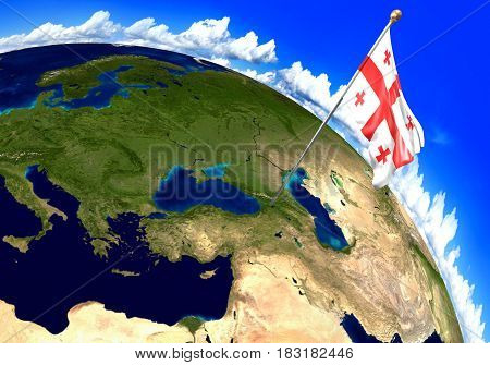 Georgia national flag marking the country location on world map. 3D rendering, parts of this image furnished by NASA