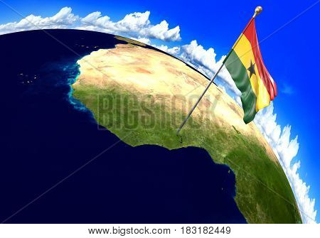 Ghana national flag marking the country location on world map. 3D rendering, parts of this image furnished by NASA