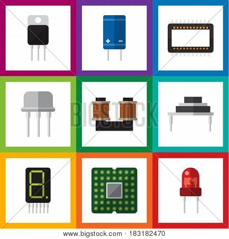 Flat Electronics Set Of Recipient, Mainframe, Transistor And Other Vector Objects. Also Includes Destination, Resist, Recipient Elements.