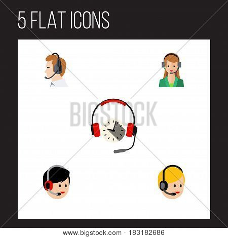 Flat Call Set Of Secretary, Operator, Headphone And Other Vector Objects. Also Includes Center, Operator, Online Elements.