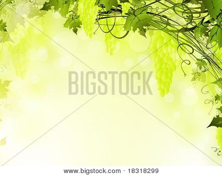 green grape frame with copyspace for your text poster