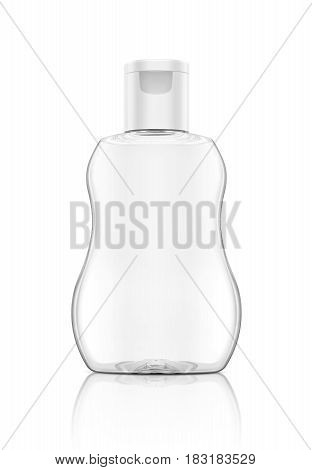 blank packaging baby oil clear bottle isolated on white background with clipping path