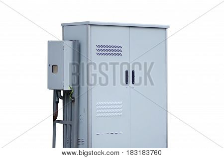 Electrical switchboard metal on white background isolation