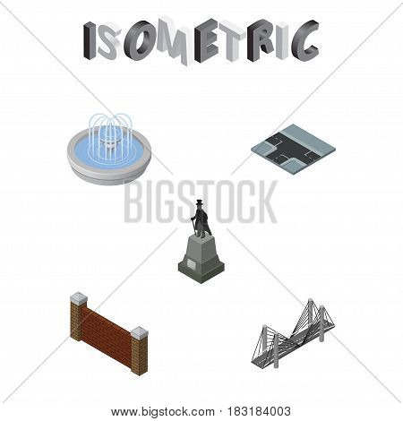 Isometric Architecture Set Of Bridge, Sculpture, Crossroad And Other Vector Objects. Also Includes Wall, Barrier, Road Elements.