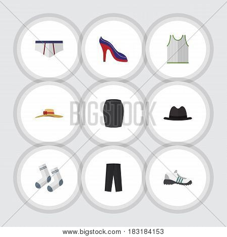 Flat Garment Set Of Elegant Headgear, Stylish Apparel, Panama And Other Vector Objects. Also Includes Sleeveless, Underwear, Shoes Elements.