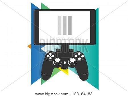 Gamepad and monitor icon on a background of multicolored triangles