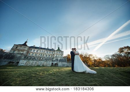 The bride and groom stand near castle