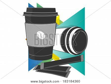 Coffee cup icon on a background of multicolored triangles
