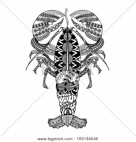 Lobster with ethnic doodle pattern. Zentangle inspired pattern for anti stress coloring book pages for adults and kids