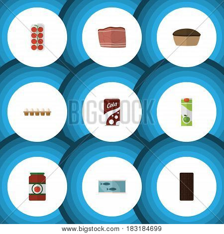 Flat Food Set Of Packet Beverage, Beef, Tart And Other Vector Objects. Also Includes Tasty, Food, Egg Elements.