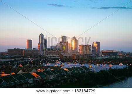 BRASOV, ROMANIA, - 15 DECEMBER, 2016: Tampa city skyline panoramic view at sunset Florida USA