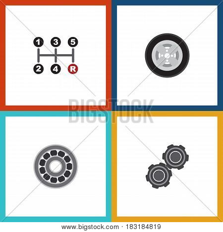 Flat Auto Set Of Belt, Carrying, Brake Disk And Other Vector Objects. Also Includes Transmission, Ball, Bearing Elements.