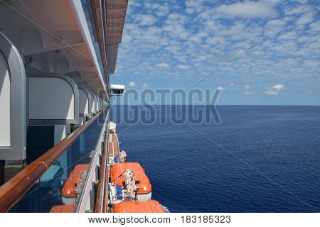 Luxury cruise ship sailis to Caribbean. Balcony view
