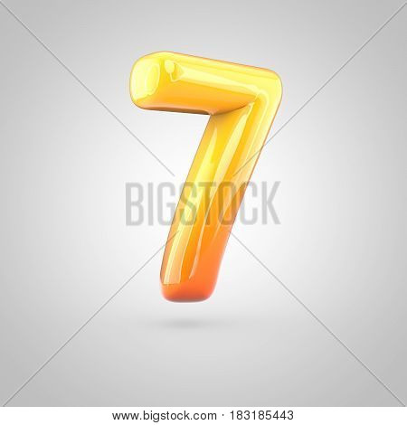 Glossy Orange And Yellow Gradient Paint Alphabet Number 7 Isolated On White Background