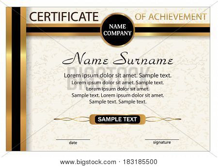 Certificate of achievement diploma. Template with gold and black ribbon. Reward. Winning the competition. Award winner. A4 size. Vector illustration.