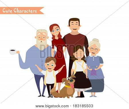 Big happy family portrait. Three generations - grandparents parents and children of different age together. Smiling cartoon characters. Vector illustration for poster greeting card website ad.