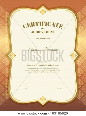 Portrait certificate of achievement template in vector with applied Thai art background gold bronze color
