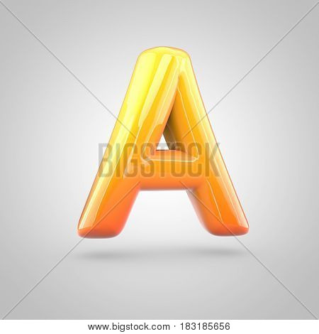 Glossy Orange And Yellow Gradient Paint Alphabet Letter A Uppercase Isolated On White Background