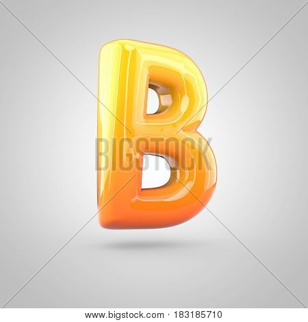 Glossy Orange And Yellow Gradient Paint Alphabet Letter B Uppercase Isolated On White Background