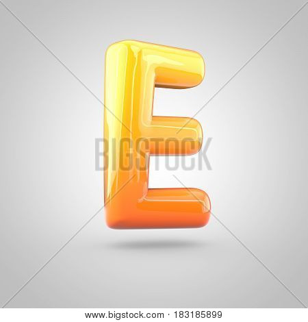 Glossy Orange And Yellow Gradient Paint Alphabet Letter E Uppercase Isolated On White Background