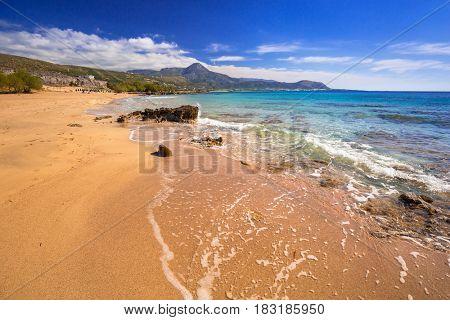 Scenery of Falassarna beach on Crete, Greece