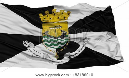 Isolated Lisboa City Flag, Capital City of Portugal, Waving on White Background, High Resolution