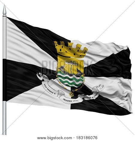 Lisboa City Flag on Flagpole, Capital City of Portugal, Flying in the Wind, Isolated on White Background