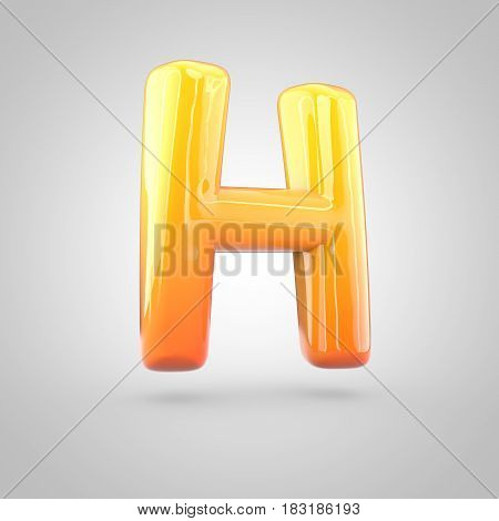 Glossy Orange And Yellow Gradient Paint Alphabet Letter H Uppercase Isolated On White Background