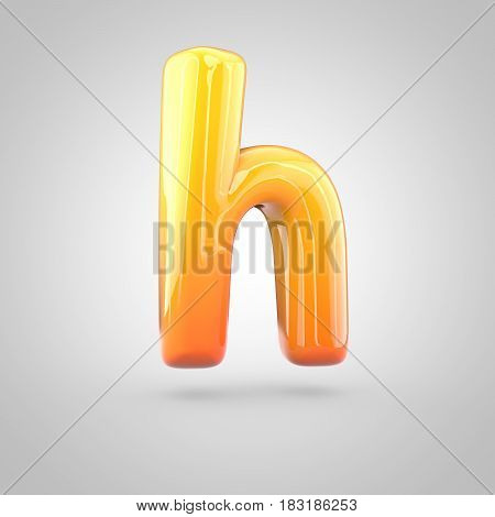 Glossy Orange And Yellow Gradient Paint Alphabet Letter H Lowercase Isolated On White Background