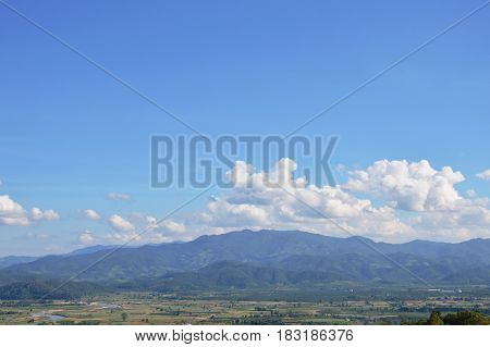 paddy and mountain landscape in Thailand countryside