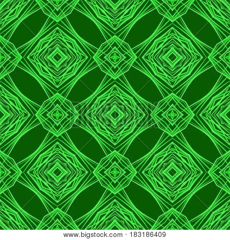 Seamless Texture on Green. Element for Design. Ornamental Backdrop. Pattern Fill. Ornate Floral Decor for Wallpaper. Traditional Decor on Background