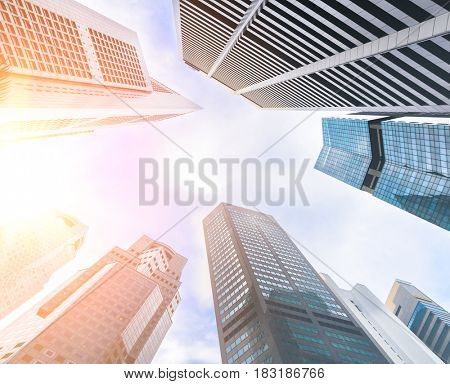 Business skyscrapers in downtown and skies.