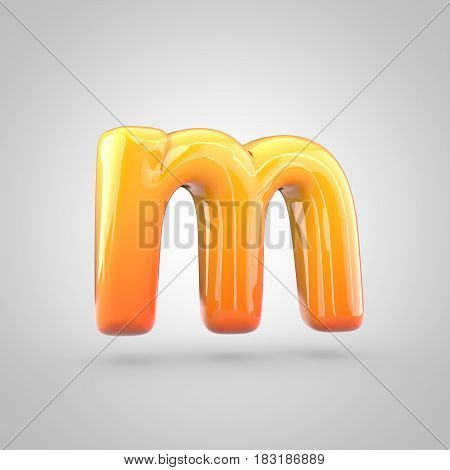 Glossy Orange And Yellow Gradient Paint Alphabet Letter M Lowercase Isolated On White Background