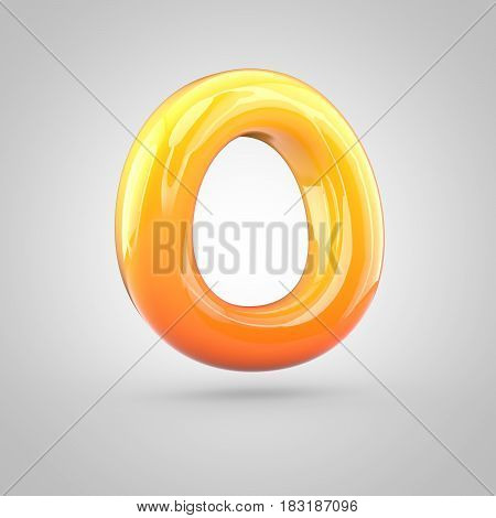 Glossy Orange And Yellow Gradient Paint Alphabet Letter O Uppercase Isolated On White Background