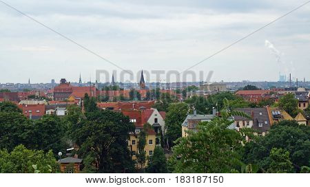 the picture shows a view over halle in germany