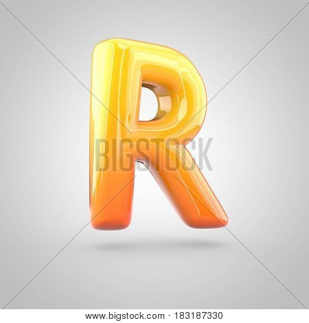 Glossy Orange And Yellow Gradient Paint Alphabet Letter R Uppercase Isolated On White Background