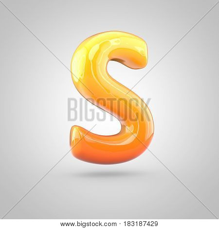 Glossy Orange And Yellow Gradient Paint Alphabet Letter S Uppercase Isolated On White Background