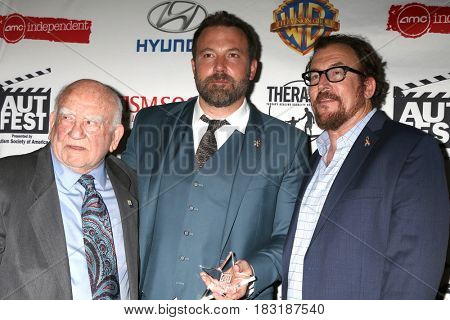 LOS ANGELES - APR 23:  Ed Asner, Ben Affleck, Matthew Asner at the 1st Annual AutFest International Film Festival at AMC Orange 30 on April 23, 2017 in Orange, CA