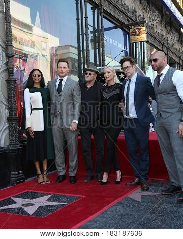 LOS ANGELES - APR 21: Zoe Saldana, Chris Pratt, M Rooker, Pom Klementieff, James Gunn, Dave Bautista at the Chris Pratt Star Ceremony on the Hollywood Walk of Fame on April 21, 2017 in Los Angeles, CA