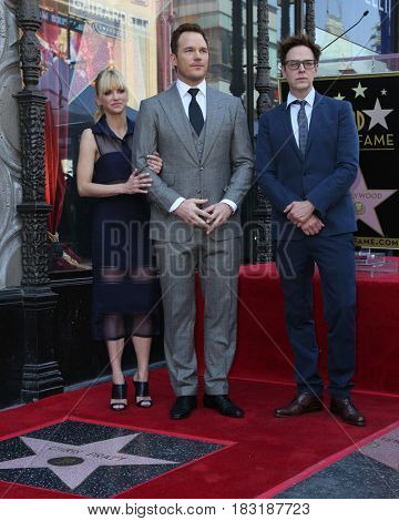LOS ANGELES - APR 21:  Anna Faris, Chris Pratt, James Gunn at the Walk of Fame Star Ceremony on the Hollywood Walk of Fame on April 21, 2017 in Los Angeles, CA