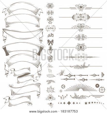 Vintage ribbon and lace design elements set