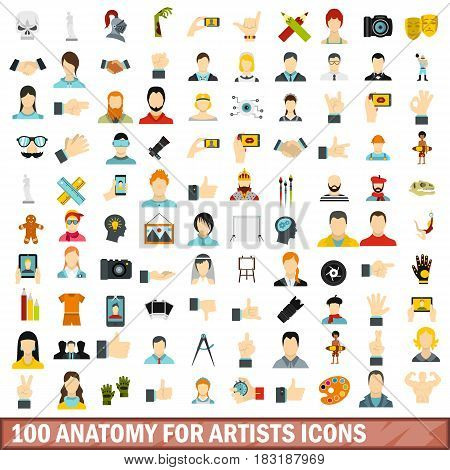 100 anatomy for artists icons set in flat style for any design vector illustration