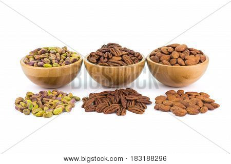 Bowl With Pistachio Pecan Almonds And Spread Nuts
