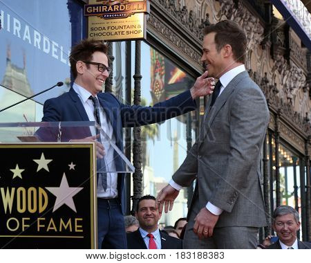 LOS ANGELES - APR 21:  James Gunn, Chris Pratt at the Walk of Fame Star Ceremony on the Hollywood Walk of Fame on April 21, 2017 in Los Angeles, CA